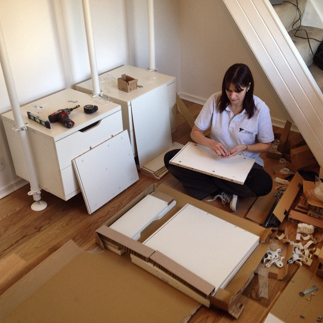 One of our #flatpackassembly fitters working hard on an #ikea #Stolmen installation.